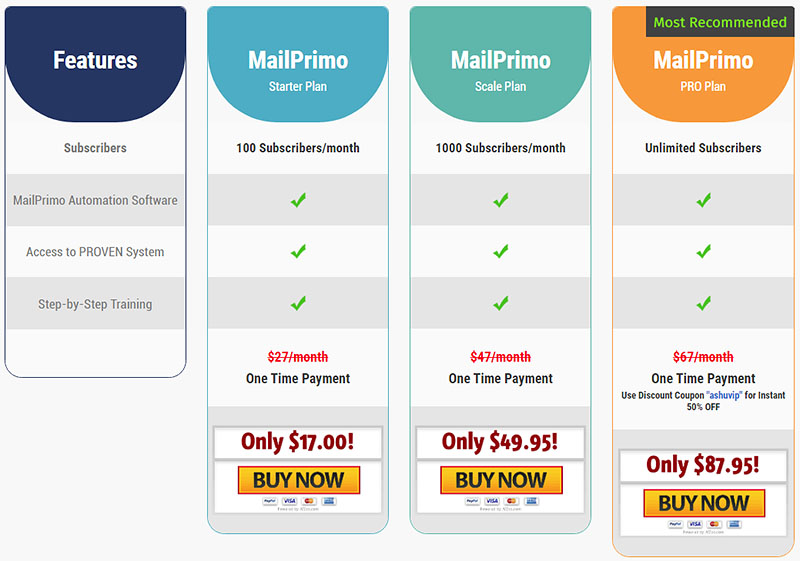 MailPrimo Pricing