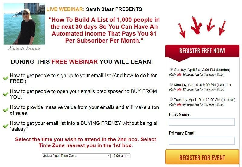 Sarah Staars List Building Webinar