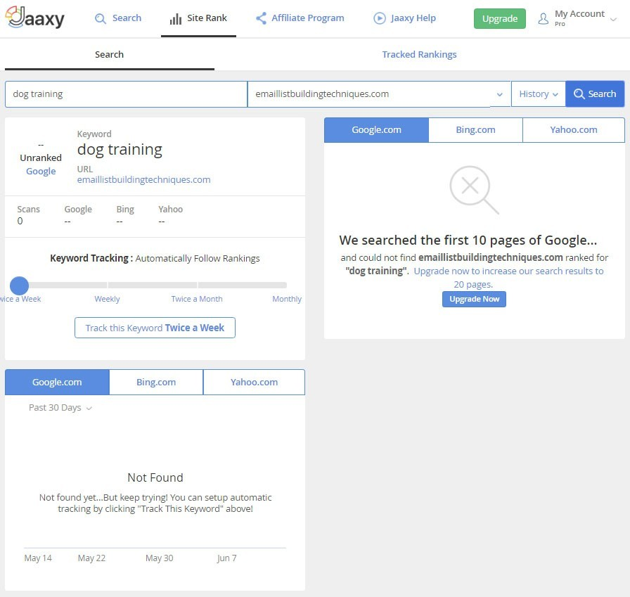 Tracking Your Keyword Rankings in Jaaxy