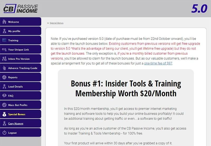 CB Passive Income 5.-0 Special Bonuses