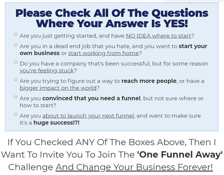 The One Funnel Away Challenge Questions