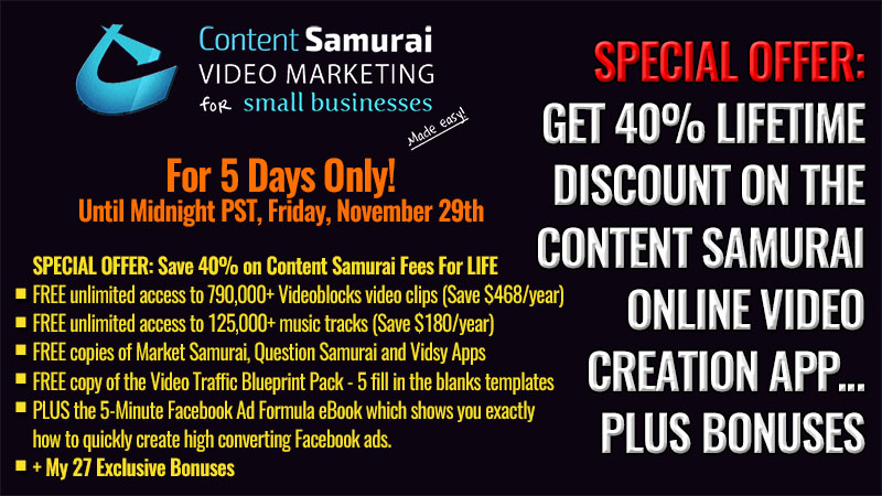 Content Samurai Black Friday Discount Deal 2019