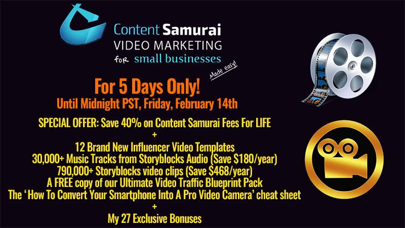 Content Samurai February 2020 Discount Offer
