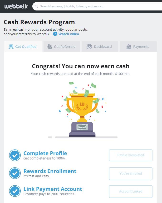 WebTalk Cash Rewards Program