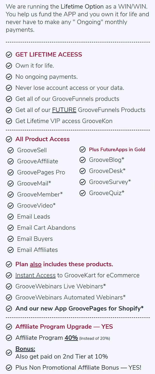 GroovePages Lifetime Access Plan
