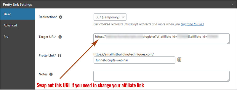 Pretty Links - Swap Out An Affiliate Link