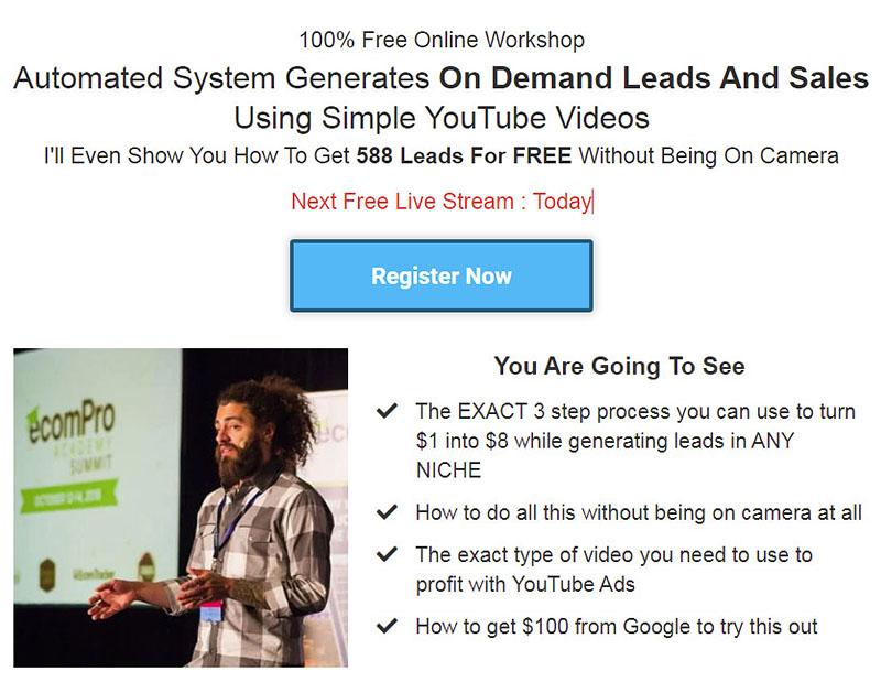 Justin Sardi YouTube Ads Workshop